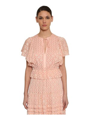 Temperley London Gold embroidered silk chiffon top
