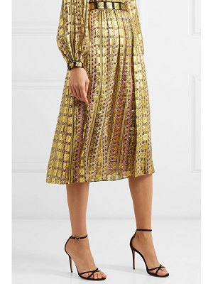 Temperley London pleated printed fil coupé chiffon skirt