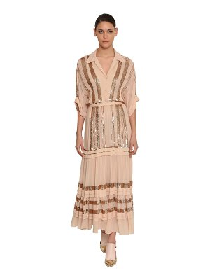 Temperley London Sequined chiffon shirt midi dress