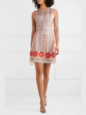 Temperley London teahouse embroidered tulle mini dress