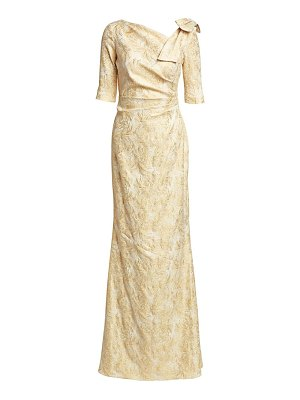 Teri Jon bow shoulder metallic jacquard gown