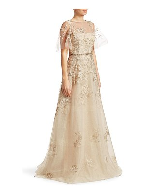 Teri Jon illusion floral overlay ball gown