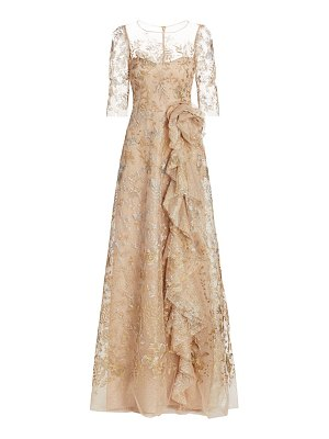 Teri Jon metallic floral illusion tulle side ruffle a-line gown