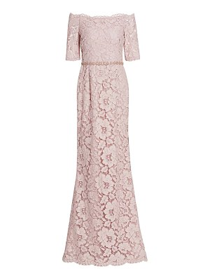 Teri Jon off-the-shoulder embellished lace gown