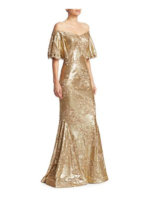 Teri Jon off-the-shoulder sequin mermaid gown