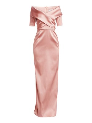 Teri Jon off-the-shoulder stretch satin gown
