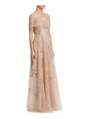 Teri Jon off-the-shoulder tulle & sequin gown