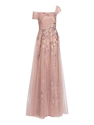 Teri Jon one-shoulder tulle gown