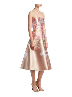 Teri Jon printed metallic strapless dress