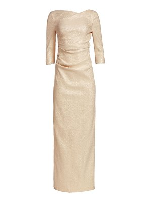 Teri Jon three-quarter sleeve stretch metallic ruched gown