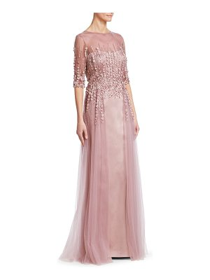 TERI JON Three-Quarter Sleeve Tulle Gown