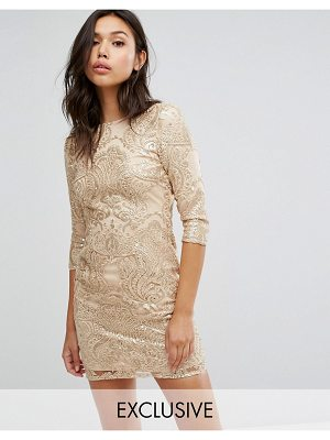 TFNC allover sequin dress with scalloped open back