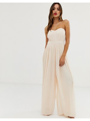 TFNC bandeau pleated wide leg jumpsuit in blush