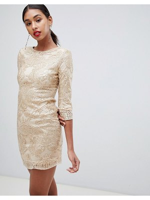TFNC baroque patterned sequin mini dress