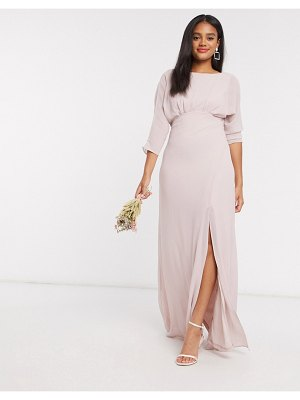 TFNC bridesmaid cowl back maxi dress with kimono sleeve in pink