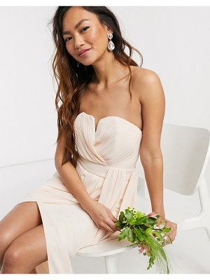 TFNC bridesmaid exclusive bandeau wrap midaxi dress with pleated detail in ecru-cream