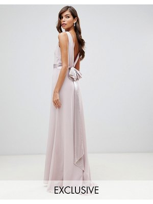 TFNC bridesmaid exclusive bow back maxi in mink-pink