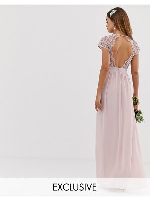 TFNC bridesmaid exclusive open back scalloped lace dress in mink