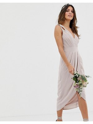 TFNC bridesmaid exclusive wrap midi dress in taupe