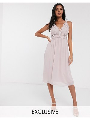 TFNC bridesmaid halter neck midi dress with lace inserts in taupe