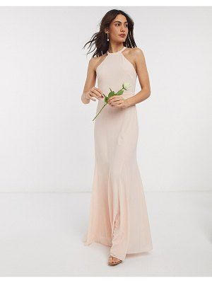 TFNC bridesmaid high neck maxi dress in ecru-cream