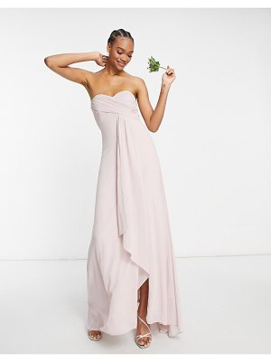 TFNC bridesmaid pleat wrap front bandeau ruffle hem maxi dress with thigh slit in mink-pink