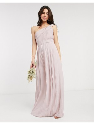 TFNC bridesmaid pleated one shoulder maxi dress in pink