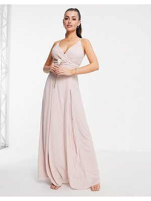 TFNC bridesmaid pleated wrap front cami maxi dress in mink-pink
