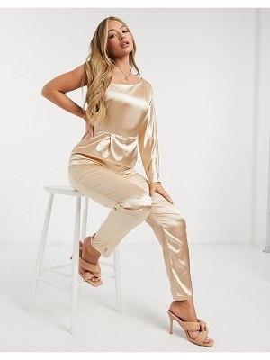 TFNC bridesmaid satin one shoulder jumpsuit in champagne-gold
