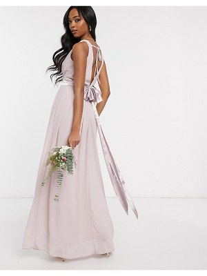 TFNC bridesmaid wrap front bow back maxi dress in pink