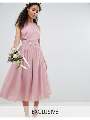 TFNC embellished midi bridesmaid dress with full prom skirt