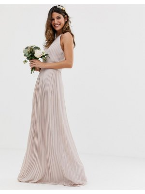 TFNC bridesmaid exclusive high neck pleated maxi dress in taupe