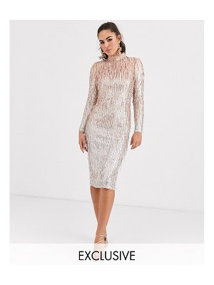 TFNC high neck sequin midi dress in rose gold
