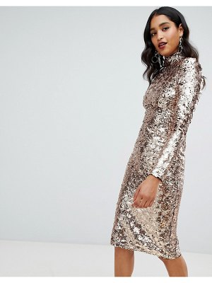 TFNC high neck sequin midi dress in gold