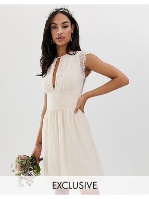 TFNC lace detail mini bridesmaid dress in pearl pink