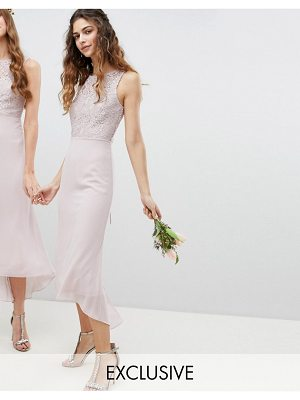 TFNC lace up back midi bridesmaid dress
