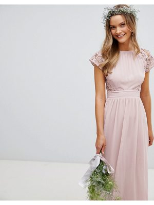 TFNC Maxi Bridesmaid Dress with Scalloped Lace and Open Back