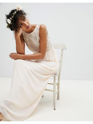 TFNC maxi bridesmaid dress with soft floral sequin top
