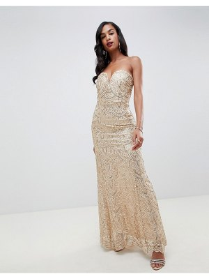 TFNC patterned sequin beandeau maxi dress in gold