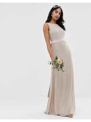 TFNC sateen bow back maxi bridesmaid dress in mink