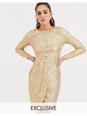 TFNC sequin midi wrap dress in gold