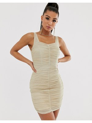 TFNC shimmer mesh ruched mini dress in light gold