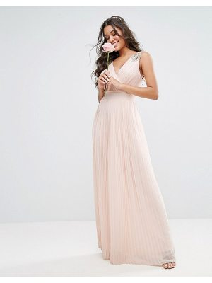 TFNC WEDDING Pleated Maxi Dress with Embellished Shoulder