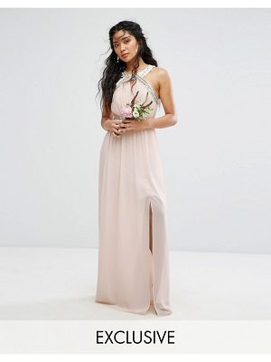 TFNC wedding wrap front halter maxi dress with embellishment