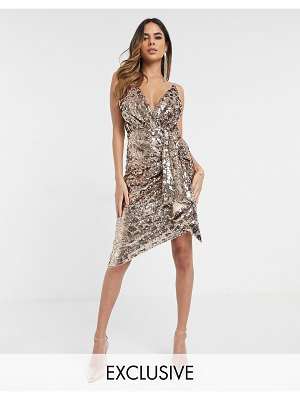 TFNC wrap front mini sequin dress in rose gold