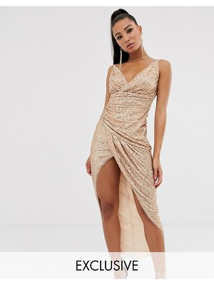 TFNC wrap front sequin maxi dress in rose gold