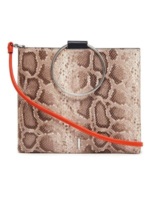 Thacker le pouch ring handle snake embossed leather crossbody bag