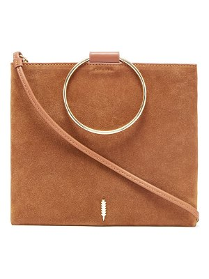 Thacker le pouch suede ring handle crossbody bag