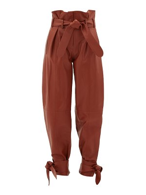 The Attico pleated high-rise paperbag-waist leather trousers
