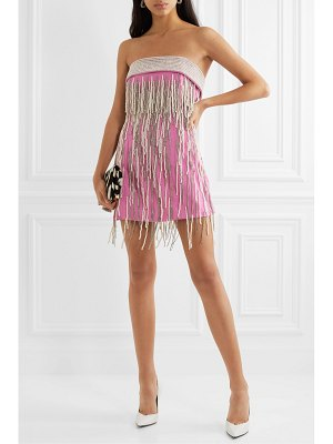 The Attico strapless crystal and faux pearl-embellished wool mini dress